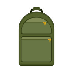 silhouette with backpack camping green vector illustration