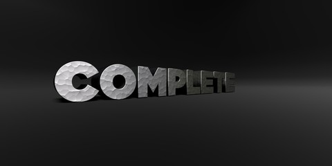 COMPLETE - hammered metal finish text on black studio - 3D rendered royalty free stock photo. This image can be used for an online website banner ad or a print postcard.