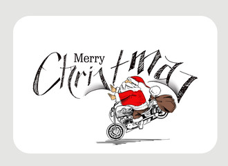 Santa claus on a motorcycle Merry Christmas! Christmas Backgroun