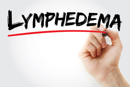 Hand writing Lymphedema with marker, concept background
