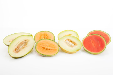 Melonen, Wassermelone, Galia, Futuro, Cantaloupe, aufgeschnitten