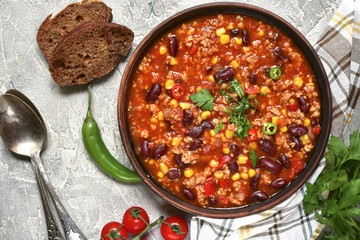 Chili con carne - traditional dish of mexican cuisine.Top view.