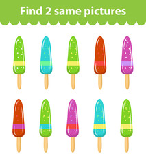 Children's educational game. Find two same pictures. Set of ice cream, for the game find two same pictures. Vector illustration.