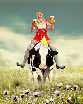 Woman sitting on a cow in tiroler oktoberfest dress and image in a old vintage color  style