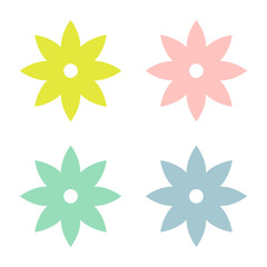 Multicolored abstract flowers. Simple flower shape. Vector illustration.