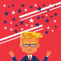 Vector Image of cartoon businessman with hands up celebrating victory.