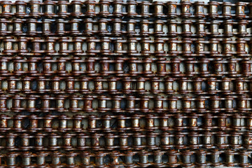 Pattern of dirty, Old, rusty bicycle chain. Abstract Background