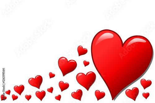 Mehrere Herzen in verschiedenen Größen, freigestellt\