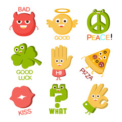 Words And Corresponding Illustrations, Cartoon Character Objects With Eyes Illustrating The Text Emoji Set