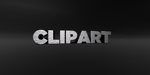 CLIPART - hammered metal finish text on black studio - 3D rendered royalty free stock photo. This image can be used for an online website banner ad or a print postcard.