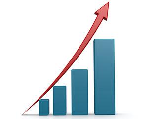 Upward graph with blue bar