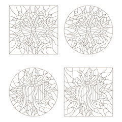 Set contour illustrations of the stained glass Windows on the theme of new year and Christmas with gift and candy