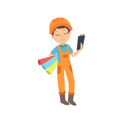 Boy With Three Wallpaper Rolls And A Checklist, Kid Dressed As Builder On The Construction Site Future Dream Profession Set Illustration
