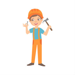 Boy With The Hammer And Nail, Kid Dressed As Builder On The Construction Site Future Dream Profession Set Illustration