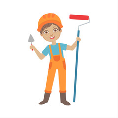 Boy With A Trowel And Painting Roll, Kid Dressed As Builder On The Construction Site Future Dream Profession Set Illustration