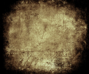 Beautiful abstract vintage grunge background with faded central area for your text or picture, scratched scary background with frame