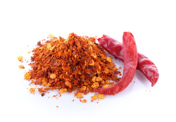 Cayenne pepper on white