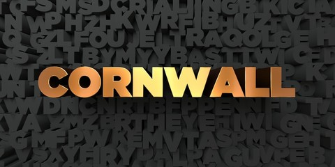 Cornwall - Gold text on black background - 3D rendered royalty free stock picture. This image can be used for an online website banner ad or a print postcard.