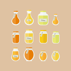 illustration. Honey jars icons set