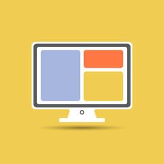 Векторная иллюстрация иконка простой символ плоский для веб monitor монитор цветной компьютер