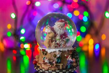 Tuinposter Imagination Christmas Snow globe Snowflake with bokeh background.Christmas Snow globe Snowflake close-up