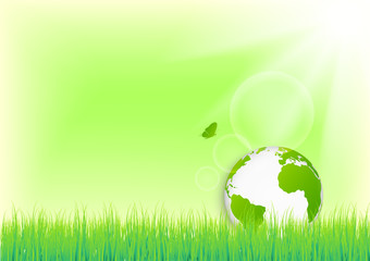 Green world with butterfly for environmental and ecology friendly concept background, vector illustration