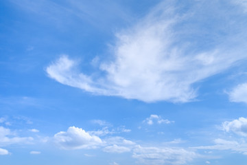 Cumulus and Cirrus clouds in deep blue summer sky