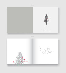 Christmas illustration greeting card template with pine Christma