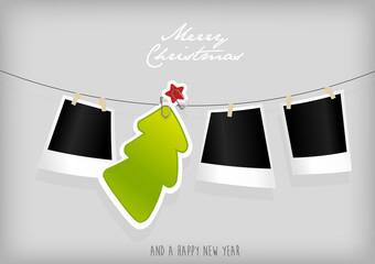 Hanging Christmas tree badge and photographs. Vector art