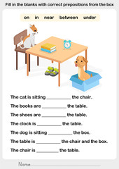 Fill in the blanks with correct prepositions - preposition worksheet for education