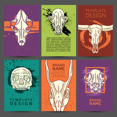 Set of trendy cards with animal skulls decor. Invitations, postcards human and animal skulls. Vector cards, flyers, brochures with colorful grunge texture, and white skulls. Vector.