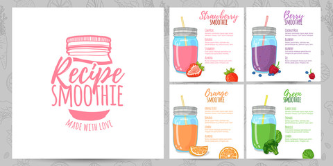 Template design banners, brochures, menus, flyers smoothie recipes. Design menu with recipes and ingredients for a smoothie. Recipes of cocktails made from fruits, vegetables and herbs. Vector