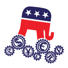 Emblem of the Republican Party of the US and world currencies. Vector illustration