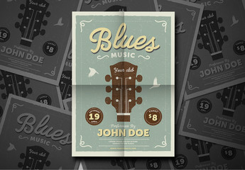 Vintage Jazz & Blues Guitar Flyer Layout