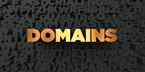 Domains - Gold text on black background - 3D rendered royalty free stock picture. This image can be used for an online website banner ad or a print postcard.
