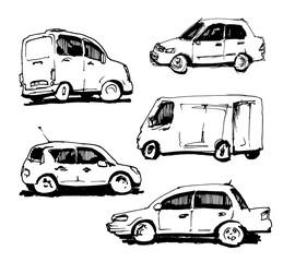 Set of hand drawn cars. Vector illustration.