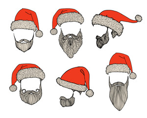 Stylish Santa. Hats and beards. Set of vector hand-drawn illustrations.