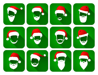 Santa Claus. Hats and beards. Icons collection.