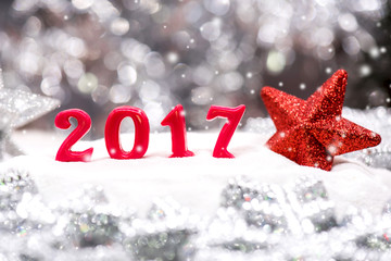 Merry Christmas and Happy New Year 2017 with snow