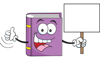 Cartoon illustration of a book holding a sign.