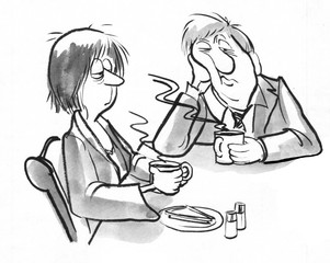 Black and white illustration of a tired couple drinking morning coffee before work.