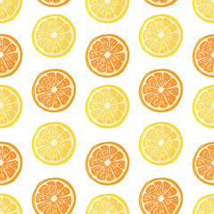 Seamless pattern with fruit decoration. Wallpaper with a pattern of slice orange and lemon. Fruit citrus background is for cafes, restaurants, a fabric. Vector.