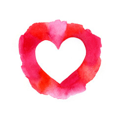 Watercolor painted pink heart frame element for your design