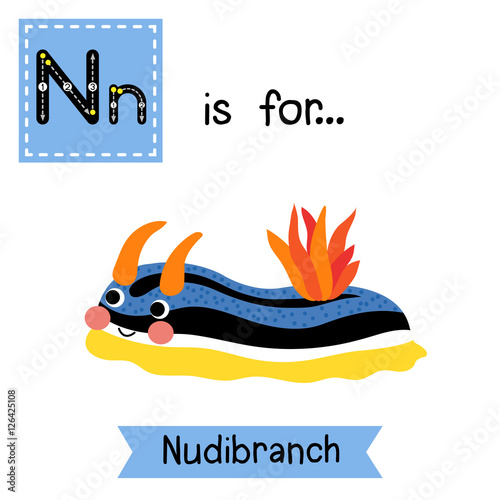 Image of: Letter Colorful Nudibranch Cute Children Zoo Alphabet Flash Card Funny Cartoon Animal Kids Abc Education Learning English Vocabulary Vector Illustration Fotoliacom Letter Tracing Colorful Nudibranch Cute Children Zoo Alphabet