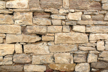 Rogenstein, Kalkstein, Bruchsteinmauerwerk, Mauerwerk, Mauer aus Bruchsteinen, Natursteinmauer, Trockenmauer