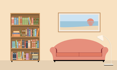 living room interior with sofa, bookcase and lamp.