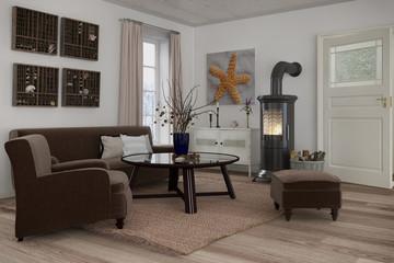 Skandinavisches, nordisches Wohnzimmer mit einem Sofa, Sessel und Kamin