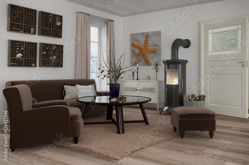 skandinavisches nordisches wohnzimmer mit einem sofa sessel und kamin stock photo and. Black Bedroom Furniture Sets. Home Design Ideas