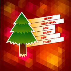 Merry Christmas Greeting Card. Creative Holiday Tree formed from paper. Vector Illustration