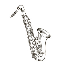Saxophone Doodle, Hand Drawn Sketch, Vector Illustration.